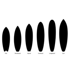 set black silhouettes surfboards vector image