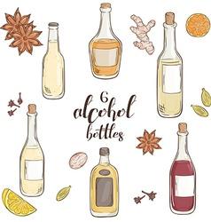 Set of 6 isolated cartoon hand drawn alcohol vector