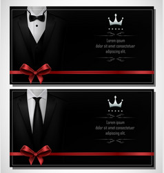 Set of black tuxedo business card templates and pl vector