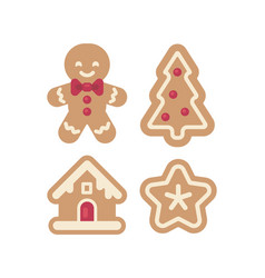 set of christmas gingerbread icons vector image
