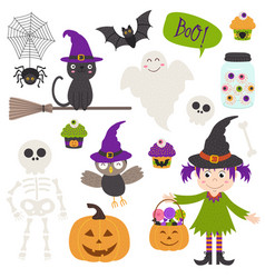 set of isolated halloween elements part 2 vector image