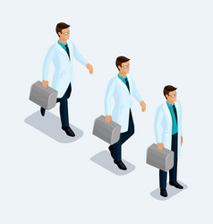 set of isometric medical workers vector image