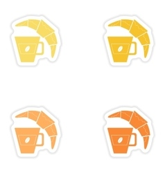 Set of paper stickers on white background coffee vector image