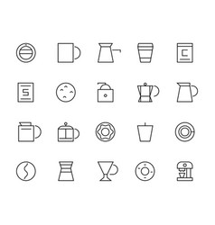 Set of thin coffee elements and coffee vector