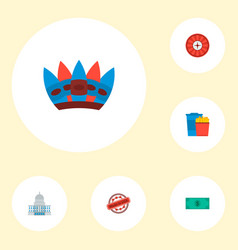 Set of usa icons flat style symbols with capitol vector