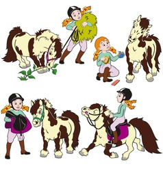 Set with girl and pony vector