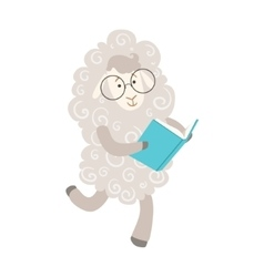 Sheep smiling bookworm zoo character wearing vector