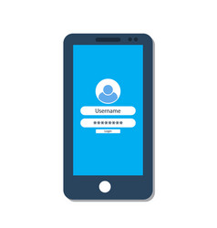 smartphone with login form on the screen vector image