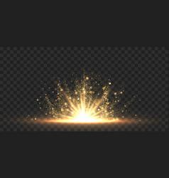 star burst with sparkles golden light flare vector image