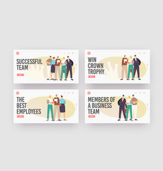 successful business team landing page template set vector image
