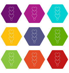 three hearts ice cream icons set 9 vector image