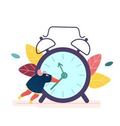 Time management concept woman holding clock arrow vector