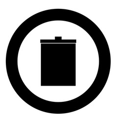 trash bucket icon black color in circle or round vector image