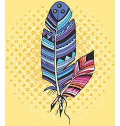 Two ethnic feather in color vector image