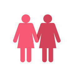 two girls lesbians icon flat style vector image