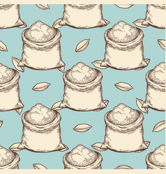 Vintage wheat flour bags seamless pattern vector