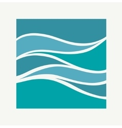 Water Wave Logo abstract design Square aqua icon vector
