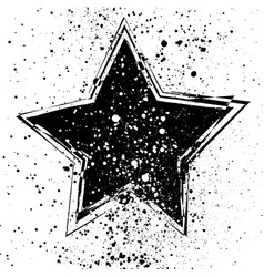 With grunge black star on vector