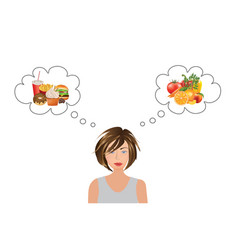 Woman thinking about food choice vector
