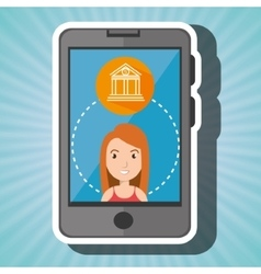 woman with smartphone and bank isolated icon vector image
