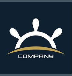 yacht club wheel logo vector image