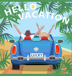 Young couple in retro cabriolet car on beach vector