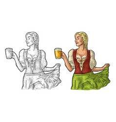 young sexy oktoberfest woman holding beer mug vector image