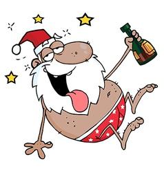Drunk African American Santa Clause vector image
