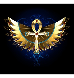 Gold ankh with wings vector