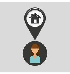 House pointer map girl design icon vector