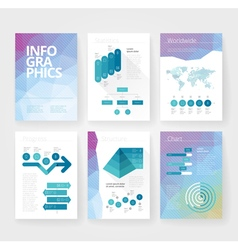 Infographics brochure blue poly world vector