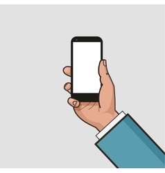 Mobile phone in hand Hand using smartphone vector image vector image