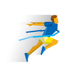 Running athlete crosses a finish line ribbon vector
