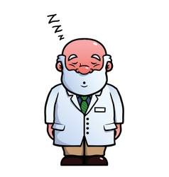 Scientist sleeping and snoring vector image