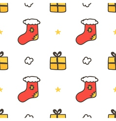 Seamless pattern with christmas socks gift boxes vector image