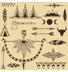Set of american indians objects vector image