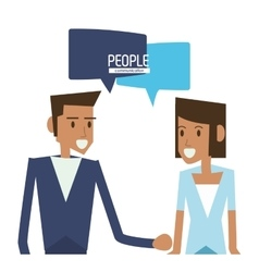 woman and man with bubble icon People design vector image vector image