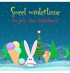 Christmas card background Rabbit with ice cream vector image vector image