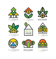 set of original logos with eco friendly vector image