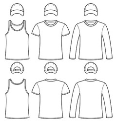 Singlet T-shirt Long-sleeved T-shirt and Cap vector image