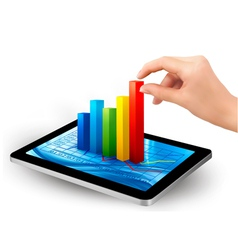 tablet pc with colorful graph and hand vector image vector image