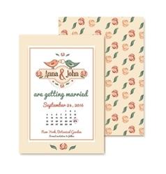 wedding vintage invitation in retro design with vector image