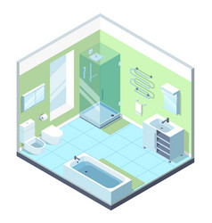 bathroom interior with different furniture vector image vector image