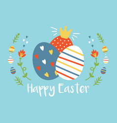 cartoon easter greeting card with colorful eggs vector image vector image