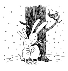 Cute cartoon hares Winter vector image vector image
