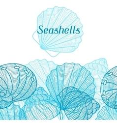 Marine background with stylized seashells Design vector image