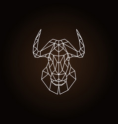 geometric head bull on black background vector image