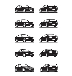 Popular cars in perspective vector image vector image