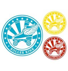 Roller rink label vector image