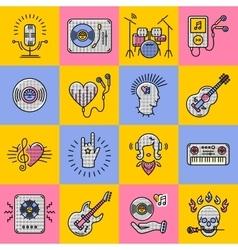 Set music icons line art Rock jazz punk vector image vector image